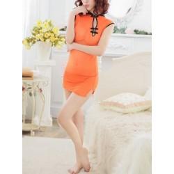 橙色  透視旗袍款 性感内衣 均碼