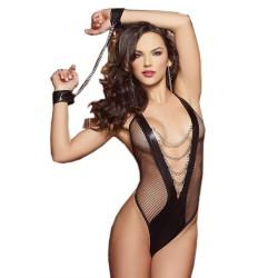 型格皮款黑色誘惑 - 金屬鍊手扣惹火性感情趣內衣