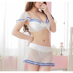 藍白色 - 水手裝透視裝情趣内衣性感内衣 (均碼)