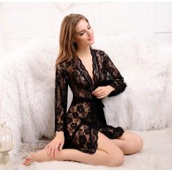 黑色 三件透視蕾絲外衣連Bra及內褲情趣内衣性感睡袍 (均碼)