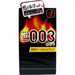日本版 - 岡本 零零三 0.03 熱感  乳膠安全套  (10 片裝)