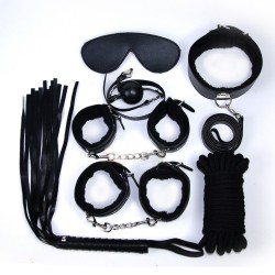BDSM 七件裝 (手銬、腳銬、眼罩、皮鞭、綿繩、口塞、頸圈)